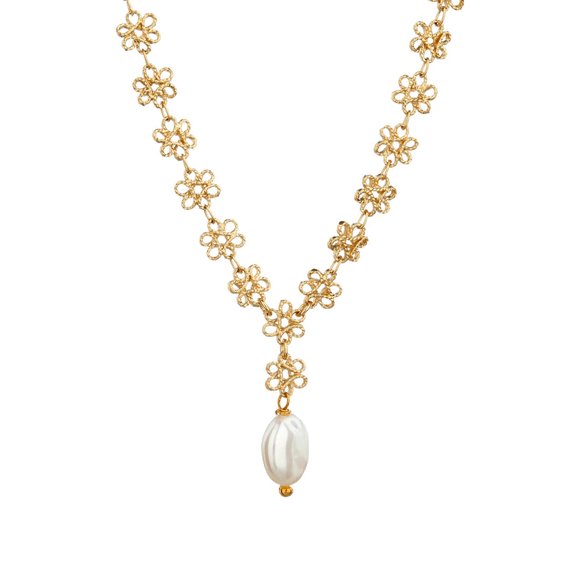 Infinity Necklace with Freshwater Pearl - Mirabelle Jewellery