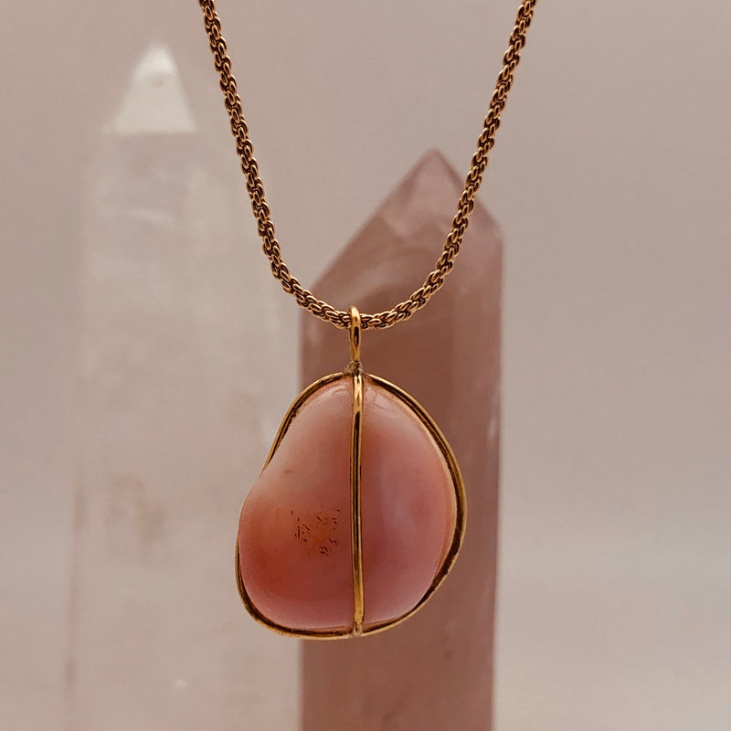 Unique Pink Agate Pendant Fair Trade - Mirabelle Jewellery
