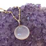 Nova Carved Rose Quartz Pendant - Mirabelle Jewellery