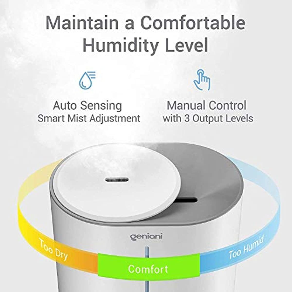 GENIANI Top Fill Cool Mist Humidifiers for Bedroom & Essential Oil Diffuser - Smart Aroma Ultrasonic Humidifier for Home, Baby, Large Room with Auto Shut Off, 4L Easy to Clean Water Tank (4L, White)