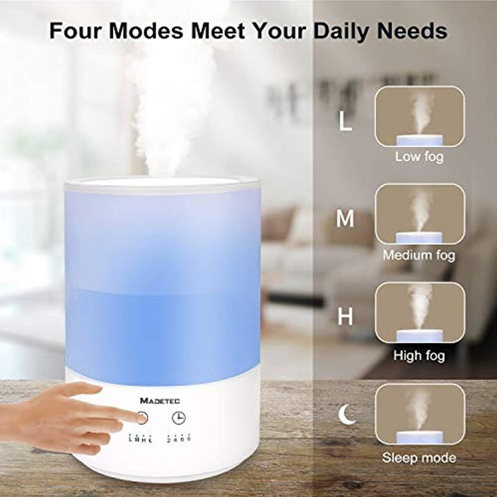 MADETEC Humidifiers, 4L Top Fill Ultrasonic Cool Mist Humidifier with Essential Oil Compatible, Sleep Mode for Bedroom/Living Room/Office, Waterless Auto Shut-off, 430 Sq. Ft. Coverage,Optional Timer & Mist Levels