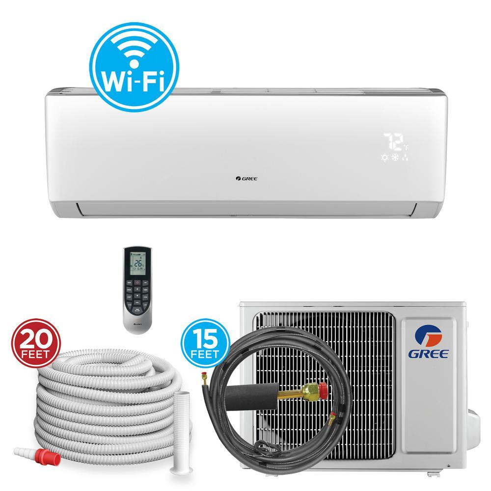 9,000 BTU 3/4 Ton Wi-Fi Programmable Ductless Mini Split Air Conditioner with Heat Kit - 230-208-Volt/60Hz