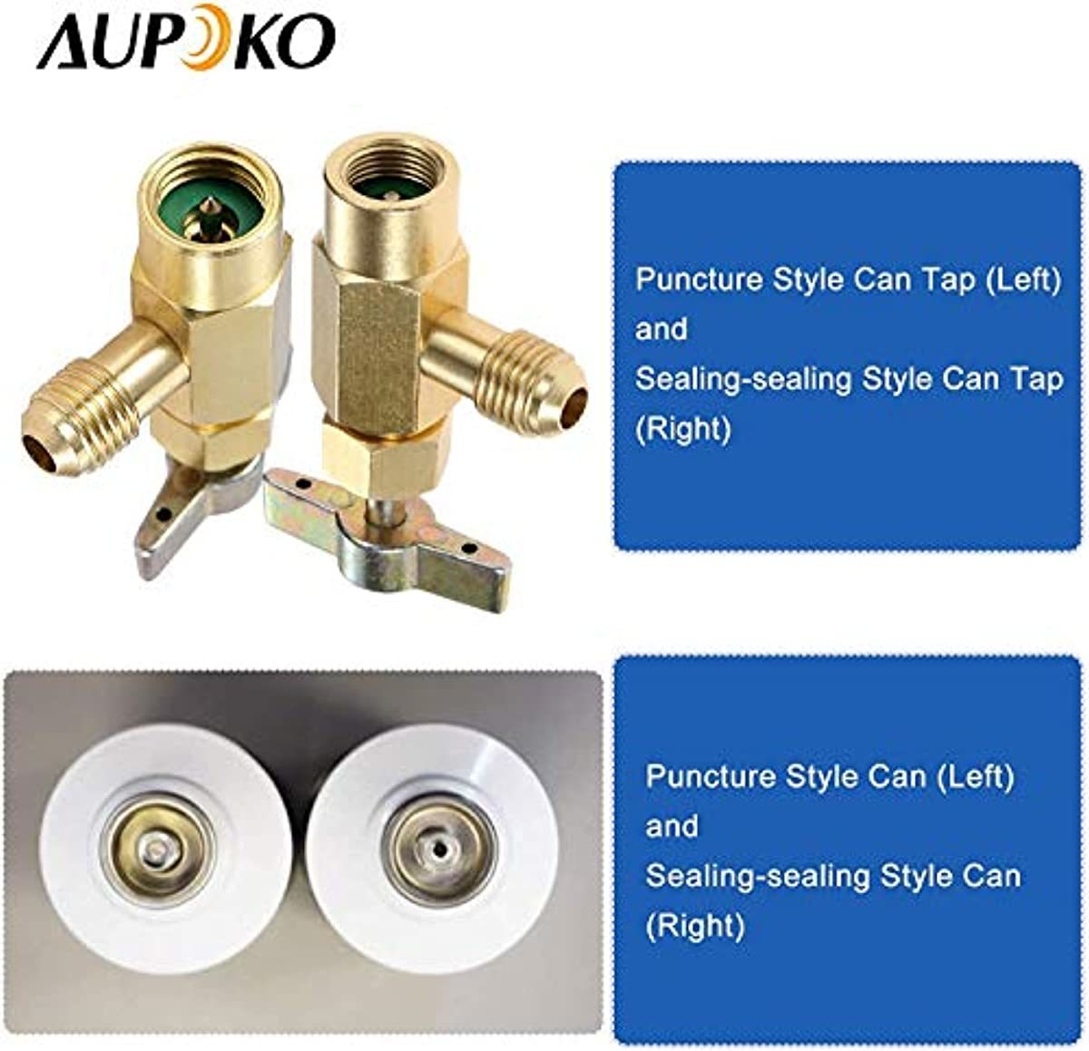 Aupoko R134A Self-Sealing Can Tap with R134A Tank Adapter, 1/2'' Acme to 1/4'' SAE Refrigerant Can Bottle Tap Opener with 1/4'' SAE Female and 1/2'' Acme Male Adapter, for Air Conditioner Manifold