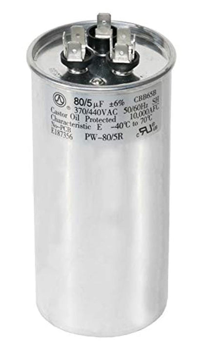 PowerWell 80uf MFD 370 or 440 Volt Dual Run Round Capacitor TP-CAP-80/5/440R Condenser Straight Cool/Heat Pump Air Conditioner - Guaranteed to Last 5 Years
