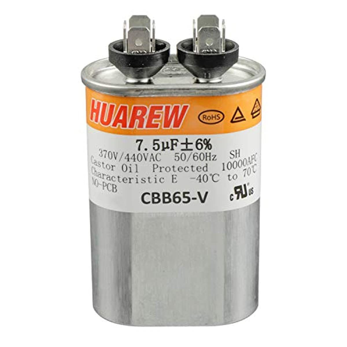 HUAREW 7.5 uF MFD ±6% 370/440 VAC CBB65 Oval Run Start Capacitor for Fan Start and Cool or Heat Pump Air Conditione or AC Motor Run