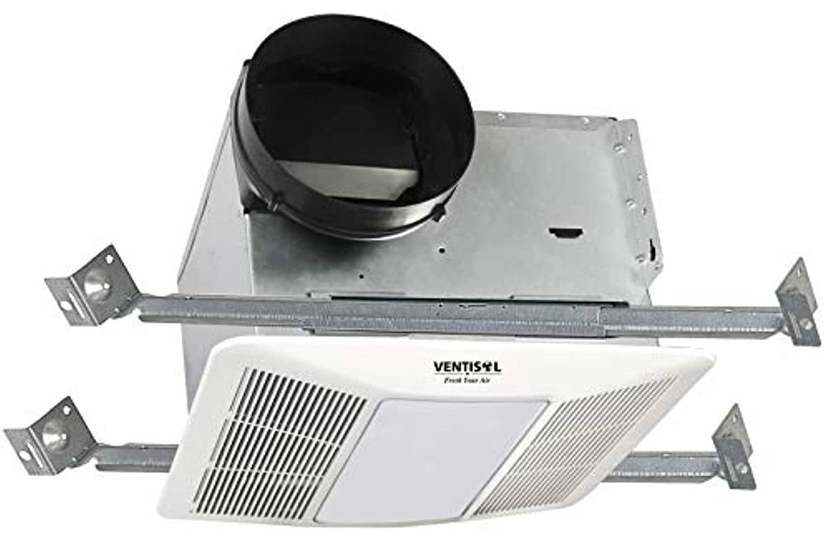 VENTISOL Ventilation Fan with CFL Light and Night Light for Bathroom and Home, Recessed Ceiling Exhaust Energy Star Certified,0.9 Sones, 110 CFM White, ETL, ENERGY STAR,HVI
