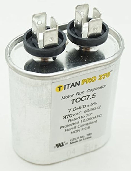 Packard TOC7.5 Motor Run Capacitor Oval / MFD: 7.5 / Volts: 370