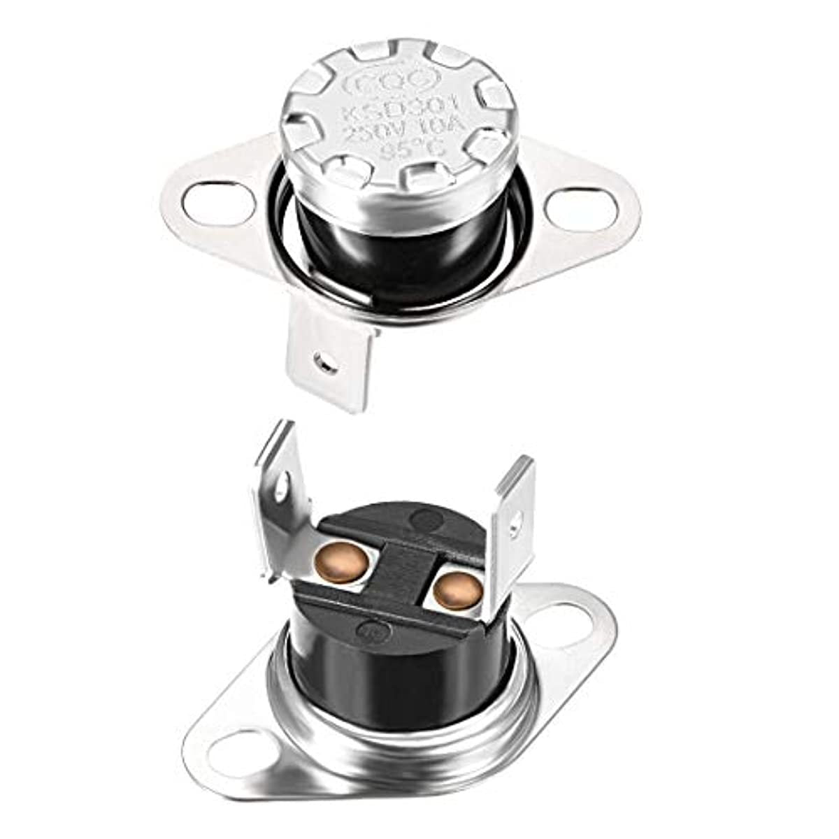 uxcell KSD301 Thermostat 95°C/203°F 10A Normally Closed N.C Adjust Snap Disc Temperature Switch for Microwave,Oven,Coffee Maker,Smoker 2pcs