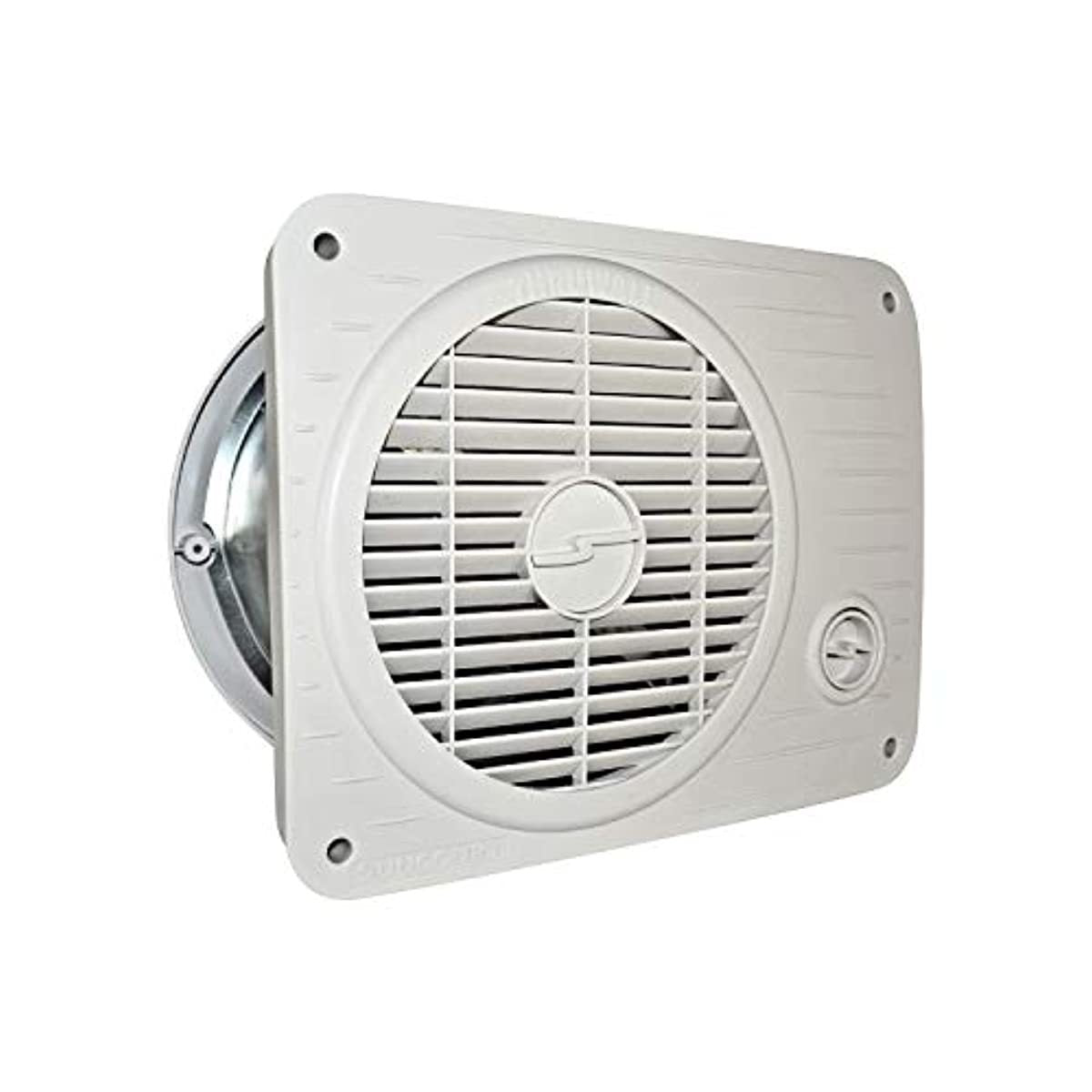 Suncourt TW208P ThruWall Hard Wired Variable Speed Room to Room Wall Mounted Air Flow Transfer Fan with Rotating Grille and Quiet Operation, White