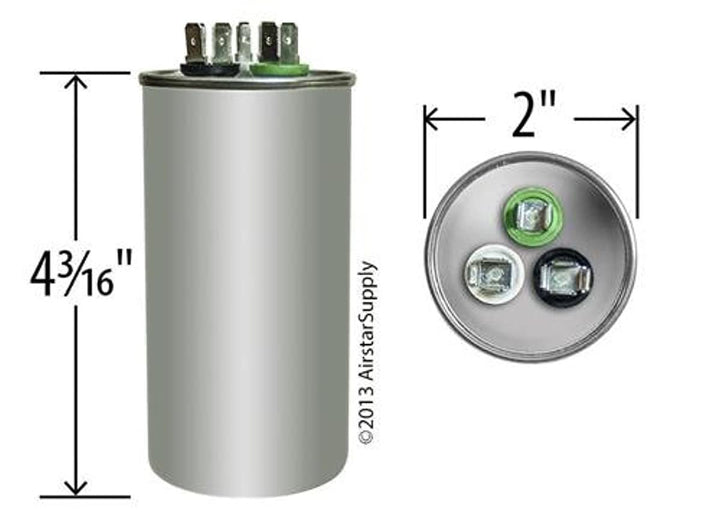 Carrier/Bryant/Payne HC98JA036D Replacement - 35 + 5 uf/Mfd 370/440 VAC AmRad Round Dual Universal Capacitor, Made in The U.S.A.