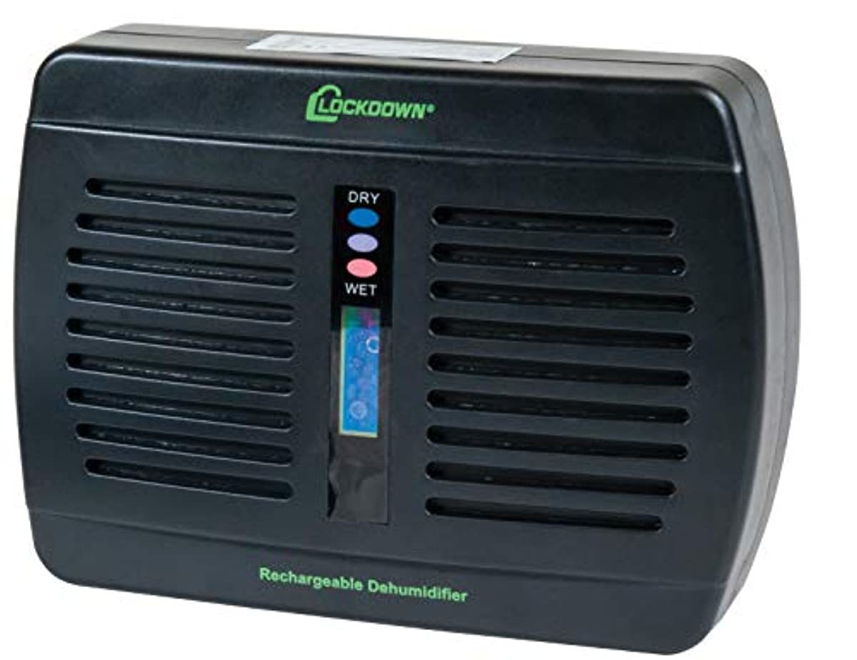 Lockdown Rechargeable/Renewable Dehumidifier with Compact, Cordless, Non-Toxic Design and Battery Level Indicator for Humidity Control in Gun Safe
