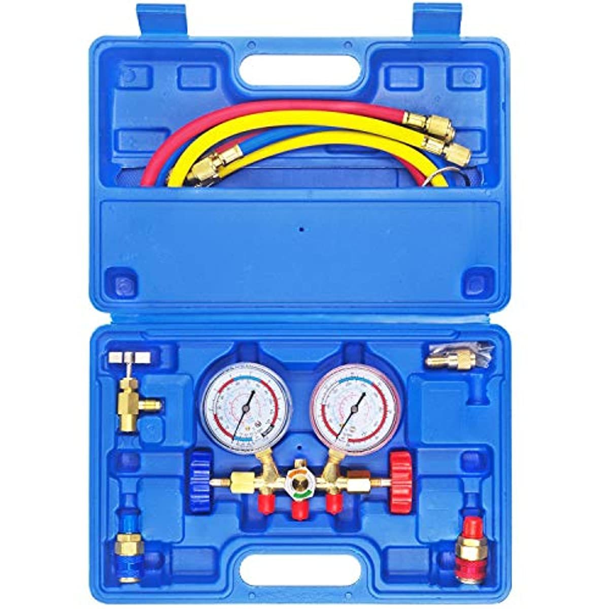 JIFETOR 3 Way AC Manifold Gauge Set, HVAC Diagnostic Freon Charging Tool for Auto Household R12 R22 R404A R134A Refrigerant, Quick Couplers Acme Adapter Valve Core Tool (3FT Hose, Can Tap, Blue Case)