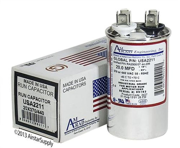 Goodman CAP40RPP Replacement - 20 uf/Mfd 370/440 VAC AmRad Round Universal Capacitor, Made in The U.S.A.