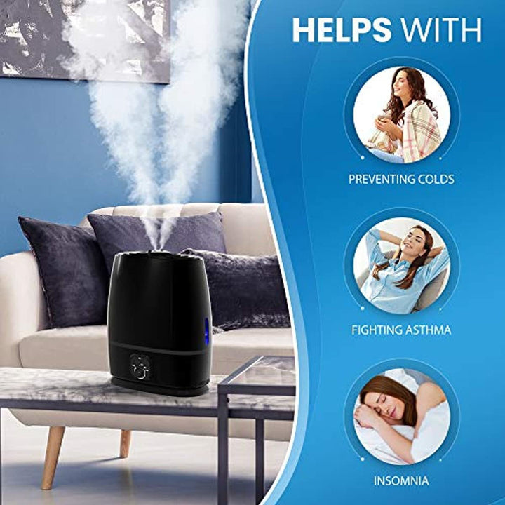 Everlasting Comfort Cool Mist Humidifier for Bedroom with Essential Oil Tray, 6L, Black