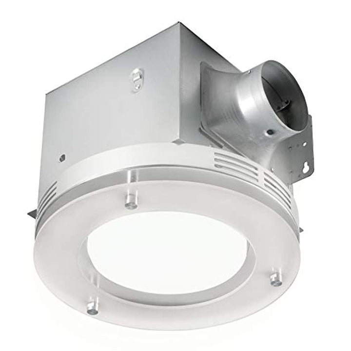 Tosca 7117-02-BN Bathroom Fan Integrated LED Light Ceiling Mount Exhaust Ventilation 1.5 Sones 80 CFM, Frosted Glass