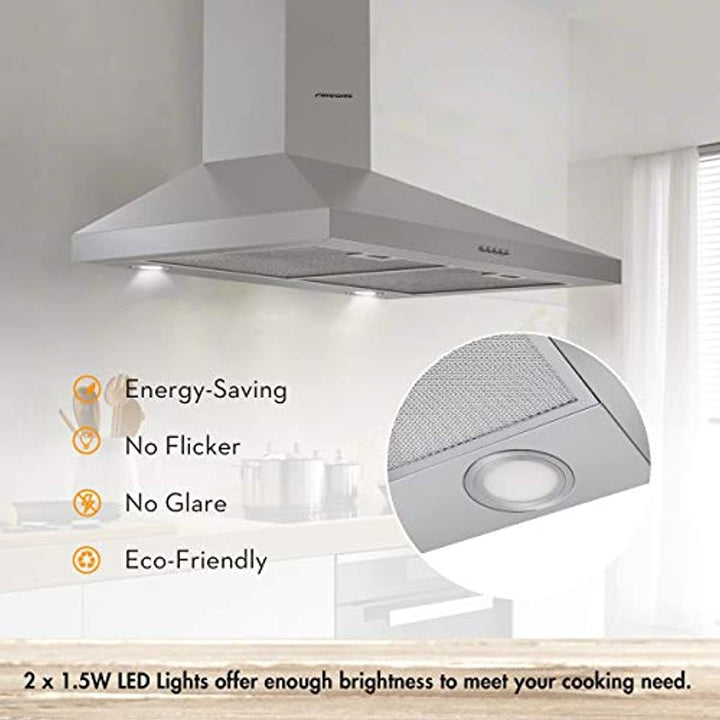 Firegas 30 inch Wall Mount Range Hood, Stainless Steel Stove Vent Hood with 3 Speed Exhaust Fan, Aluminum Mesh Filters, Ducted/Ductless Convertible Duct, Push Button, Efficient Airflow,Charcoal Filter