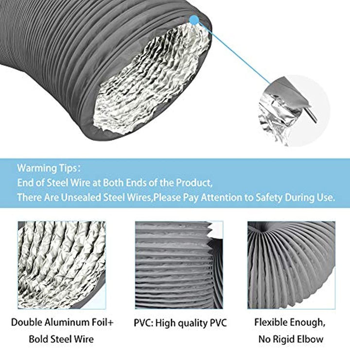 Omont 4 Inch 10 Feet Air Duct Hose, Non-Insulated Flexible Air Aluminum Foil Ducting Dryer Vent Hose for HVAC Ventilation, 2 Clamps Include, Great for Kitchen, Bathroom, Grow Tents, Dryer Rooms