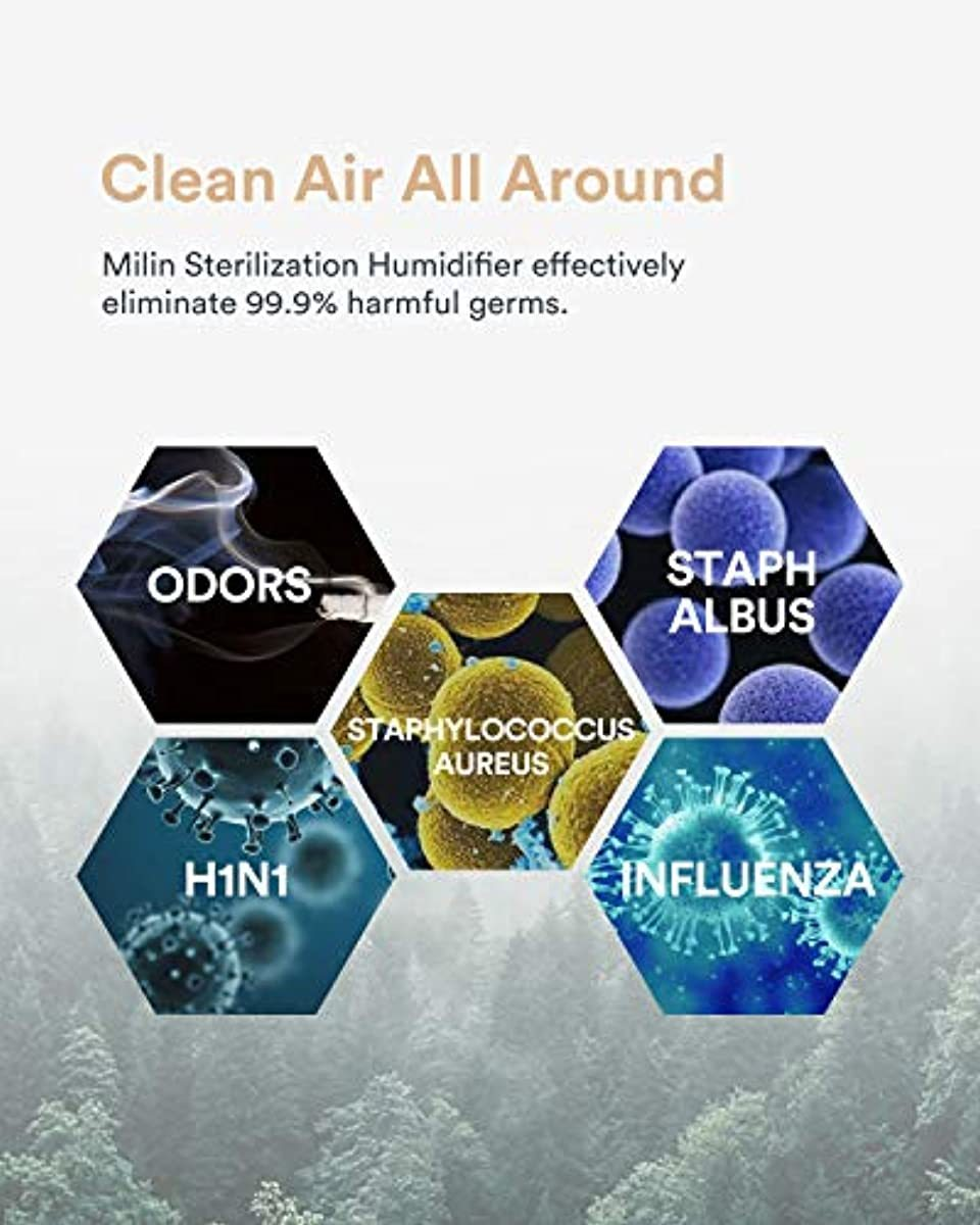 MiLin Humidifier, Germ Free Cool Mist Humidifier for Bedroom with Air Sterilization, Essential Oil Tray, Whisper-Quiet and Easy Clean 2L 20H Humidify