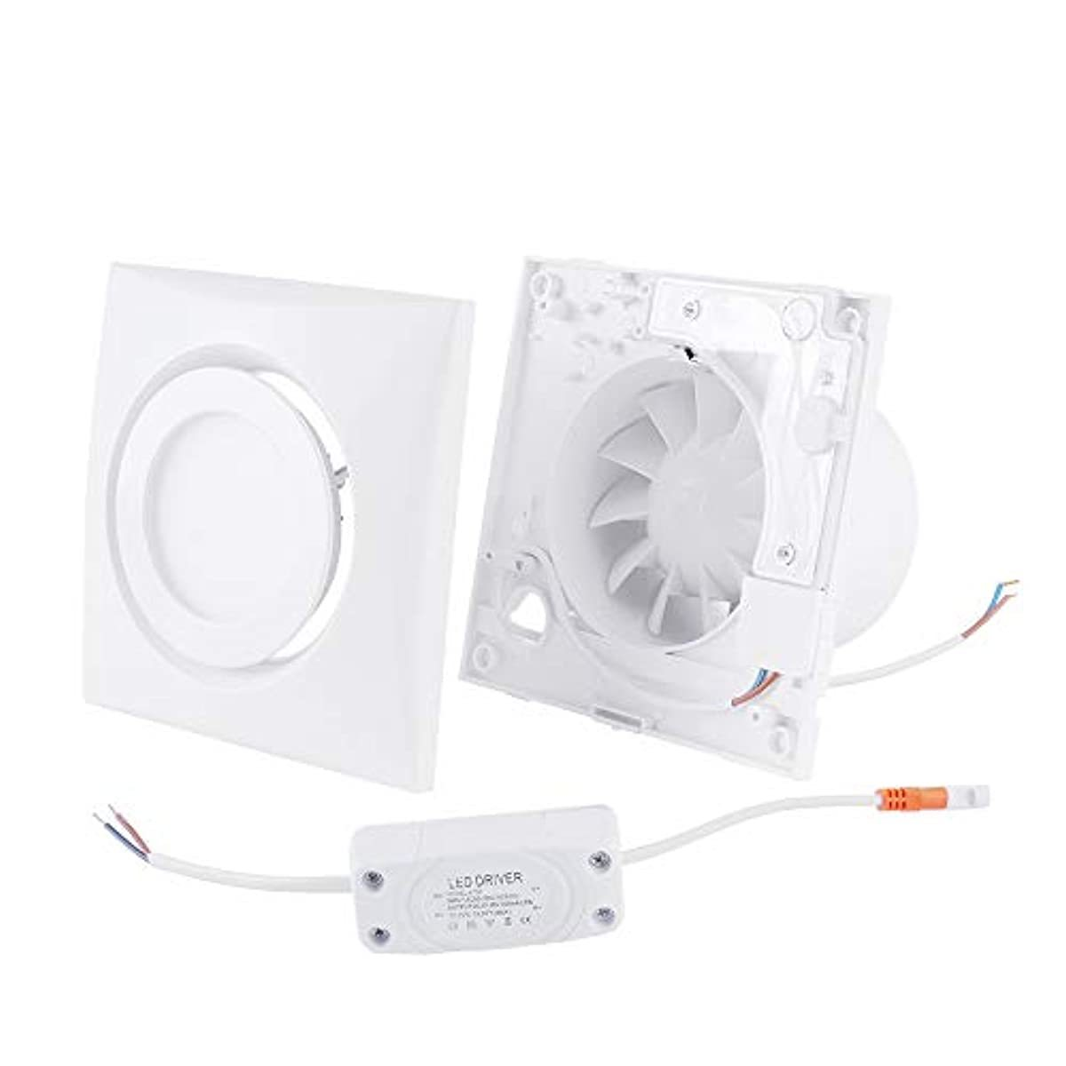 "Hon&Guan 4"" Home Ventilation Fan Garage Exhaust Fan Ceiling,Window and Wall Mount Fan with 4W LED Light for Kitchen Bathroom HVAC System"