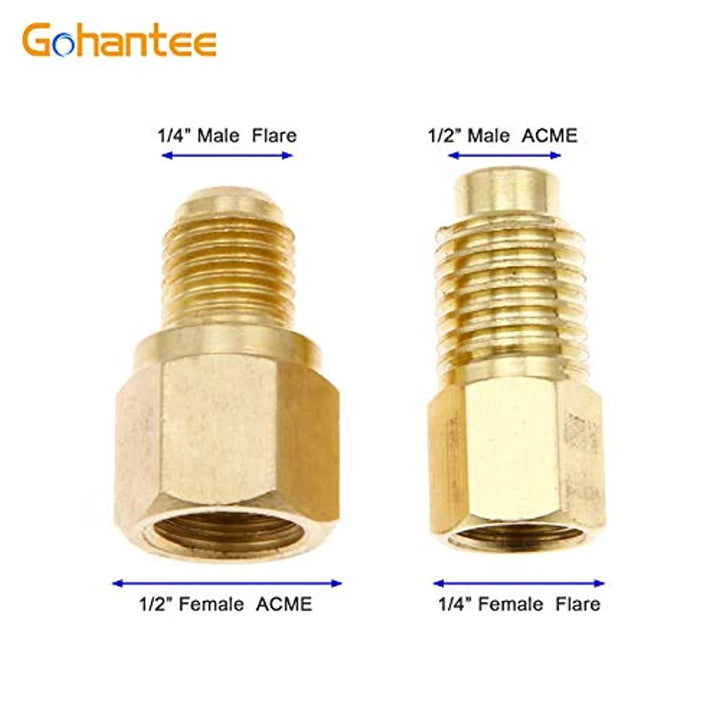 "gohantee R12 R22 to R134a Adapters, R134A Refrigerant Tank/Vacuum Pump Port Connection Adapters 1/4"" Flare Female x 1/2"" Acme Male R134A Refrigerant Refrigeration Handling Charging Tool"