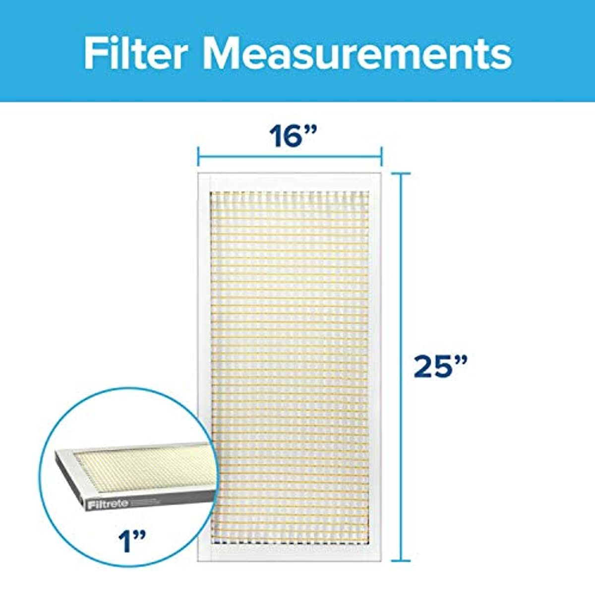 Filtrete 16x25x1, AC Furnace Air Filter, MPR 300, Clean Living Basic Dust, 6-Pack (Exact Dimensions 15.69 x 24.69 x 0.81)