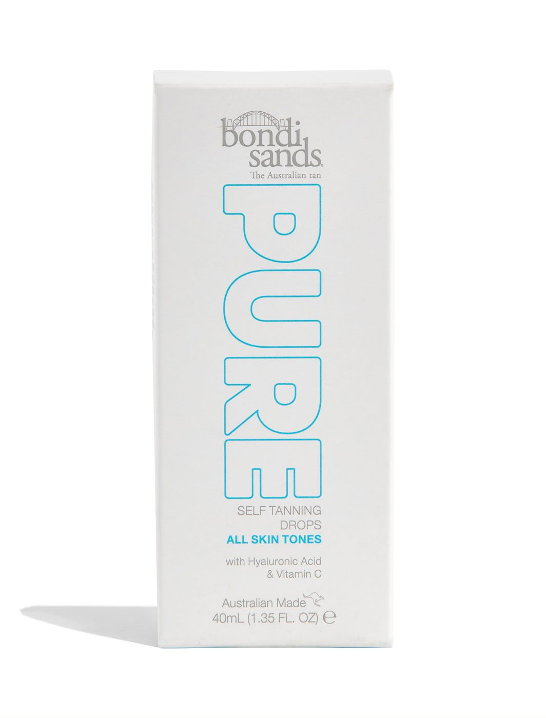 Outer Packaging of PURE Self Tanning Drops With Hyaluronic Acid and Vitamin C