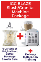 Load image into Gallery viewer, Italian Gelato Concepts Blaze Slush/Granita Machine Package with 6 cartons of Iced Coffee base