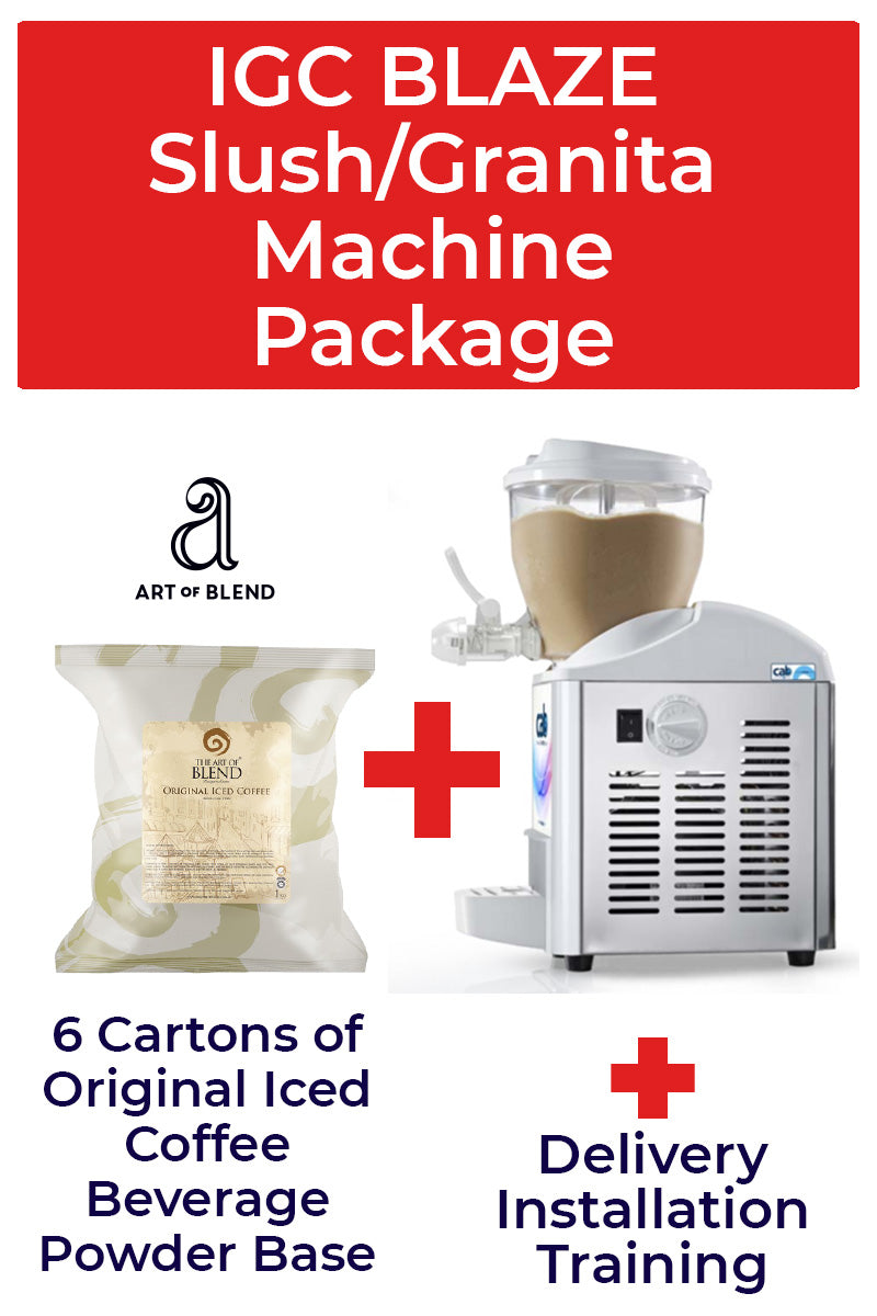 Italian Gelato Concepts Blaze Slush/Granita Machine Package with 6 cartons of Iced Coffee base
