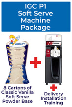 Load image into Gallery viewer, Italian Gelato Concepts P1 Soft Serve Machine Package with 8 cartons of Soft Serve base