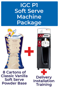 Italian Gelato Concepts P1 Soft Serve Machine Package with 8 cartons of Soft Serve base