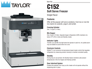 Taylor C152 Soft Serve Machine Package with 7 cartons of Soft Serve base