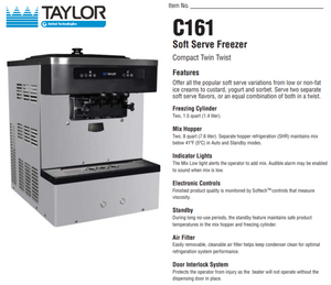 Taylor C161 Soft Serve Machine Package with 13 cartons of Soft Serve base