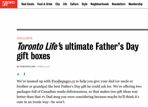 Toronto Life's Ultimate Father's Day gift boxes