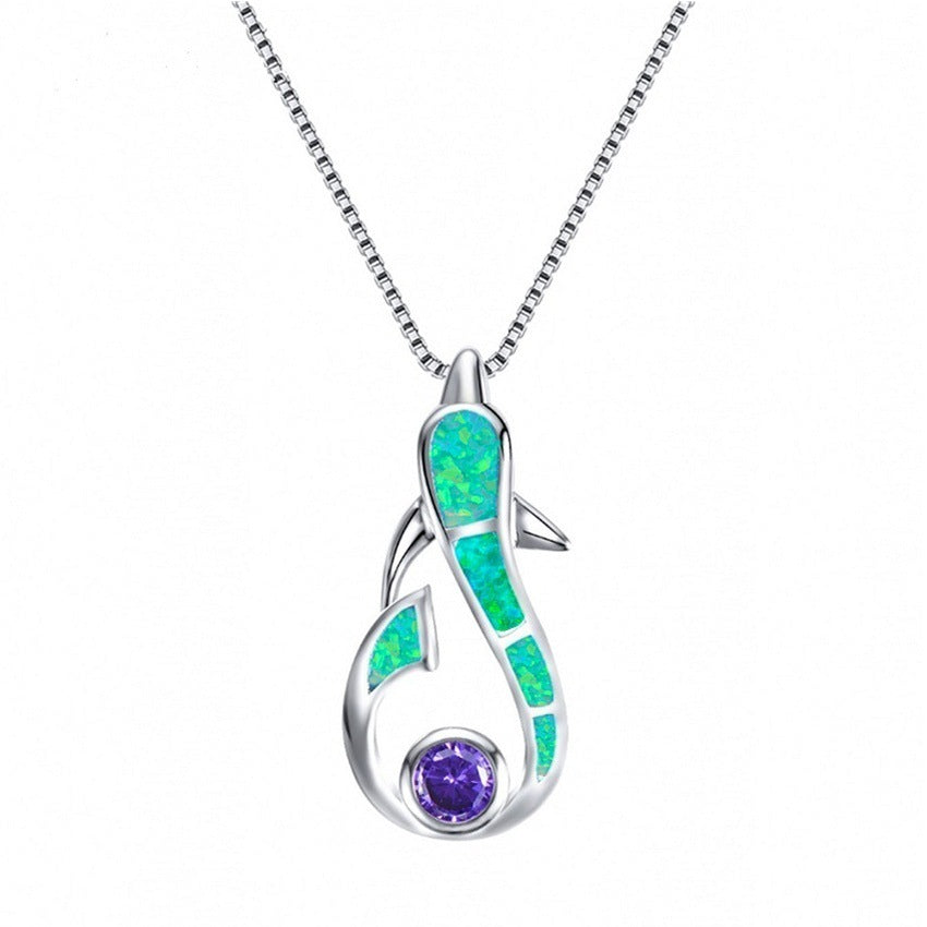 European and American fashion o treasure necklace dolphin pendant short necklace 8 colors