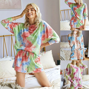 Tie Dye Print Casual Top & Drawstring Short Set