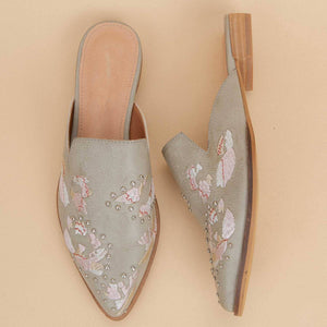 Women's  Floral Embroidered Pointed Mule