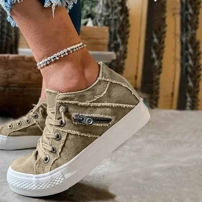 Women's Comfy Hipster Smoked Canvas Sneakers