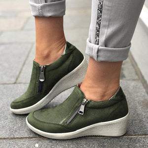 Women's Wedge Round Toe Casual Zipper Sneakers