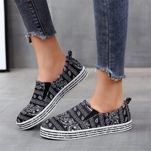 Women's Fabric Characteristic Pattern Slip On Skate Shoes