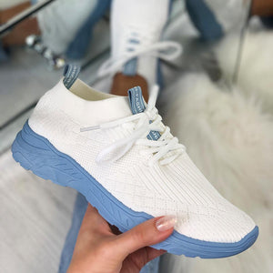 Women's Breathable Colorblock Knitted Elastic Cuff Lace-up Comfortable Sneakers