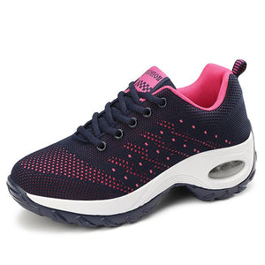 Women's Stylish Mesh Flyknit Lace Up Walking Shoes Air Cushion Sneakers