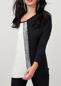 Color Block Sequined Splicing Blouse - White