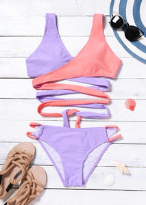 Color Block Splicing Tie Sexy Bikini Set without Necklace - Multicolor