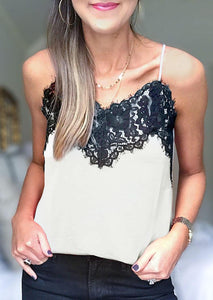 Lace Splicing Camisole without Necklace - White