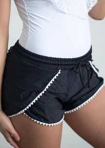 Lace Splicing Drawstring Actviewear Sports Shorts - Black