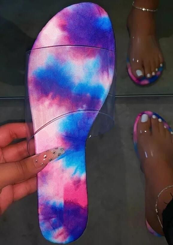 Summer Tie Dye Round Toe Flat Slippers