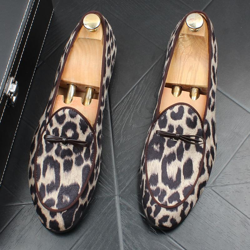 Men's Leopard Bow Shoes
