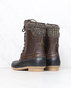 Sweater Cuff Lace-Up Mid Calf Boots - Brown