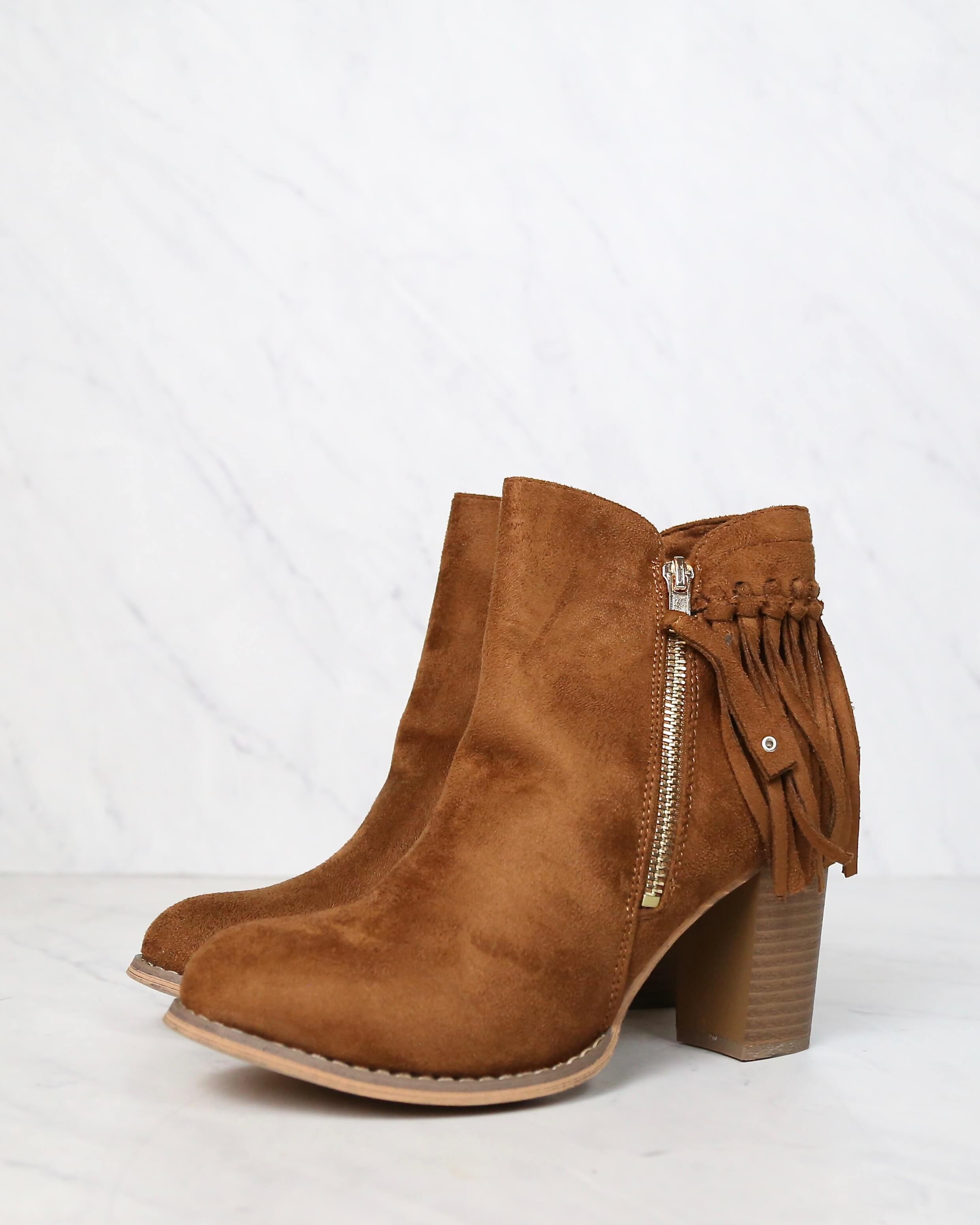 City Chic Fringe Vegan Suede Ankle Boots in Camel