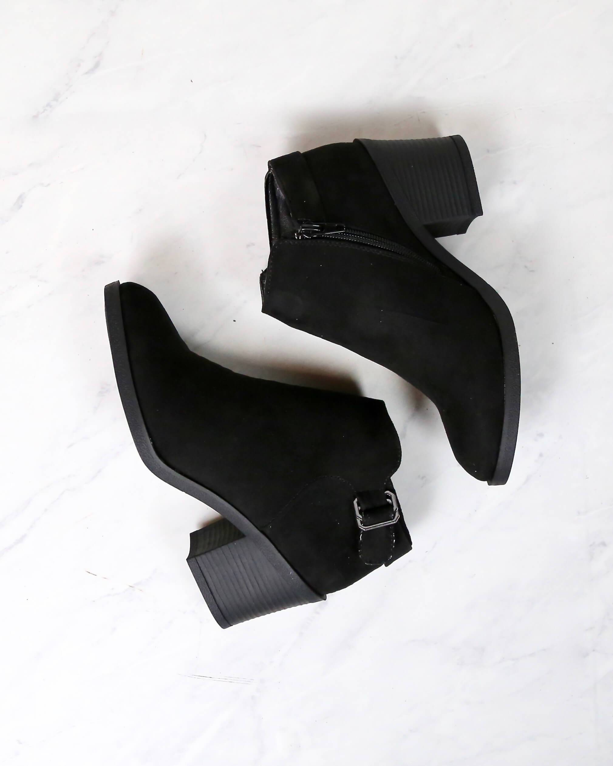 Casual Faux Suede Block Heel Ankle Bootie in More Colors